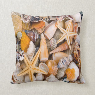 A Beautiful Collection of Seashells on a Cushion. Throw Pillow