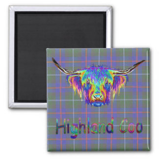 A beautiful colourful highland cow on tartan. square magnet