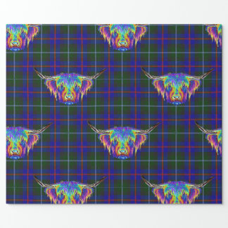 A beautiful colourful highland cow on tartan. wrapping paper