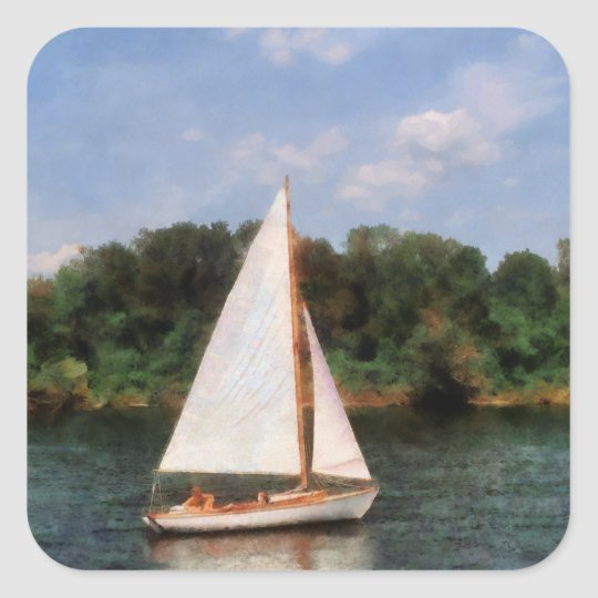 A Beautiful Day For a Sail Square Sticker
