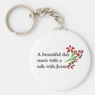 A beautiful day starts with a talk with Jesus Basic Round Button Keychain
