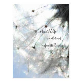 A beautiful life… sayings dandelion seed postcard