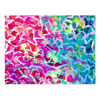 A BEAUTIFUL MESS 2 Pink Turquoise Blue Abstract Postcard
