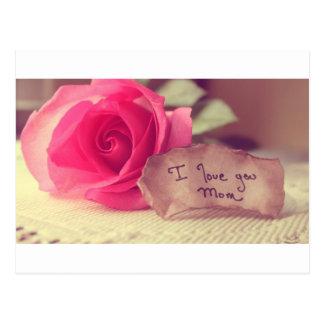 A Beautiful Pink Rose Says I-Love-You-Mom Birthday Postcard