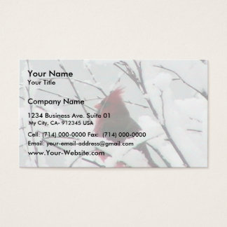 A Beautiful Red Cardinal In The Bushes Covered Wit Business Card