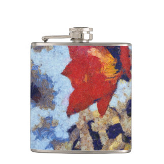 A beautiful red lily hip flask