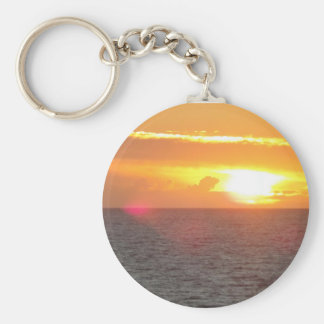 A beautiful sunset off the Oregon coast at Lincoln Basic Round Button Keychain