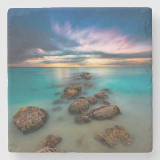 A Beautiful Sunset Over Grace Bay | Turks & Caicos Stone Beverage Coaster
