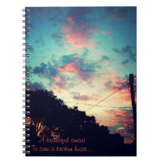 A beautiful sunset to cure a broken heart... note books
