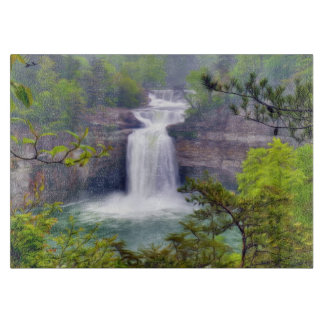 A Beautiful Waterfall In The Deep Forests Of North Cutting Board