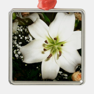 A beautiful white flower close up Silver-Colored square ornament