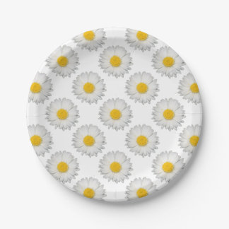 A Beautiful Yellow And Wild White Daisy Paper Plate