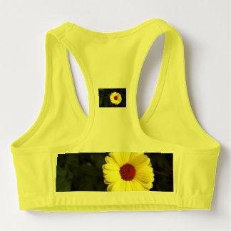 A beautiful yellow flower sports bra