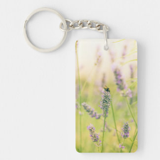 A bee on the lavender keychain