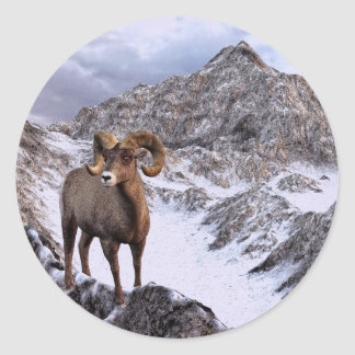 A Bighorn Sheep looks into the valley Classic Round Sticker