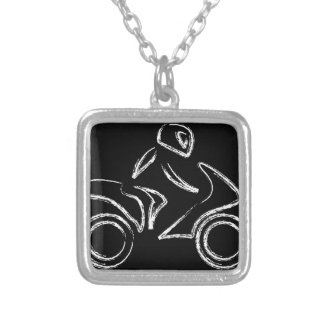 A biker on a motorbike silver plated necklace
