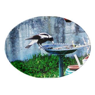 A birdbath porcelain serving platter