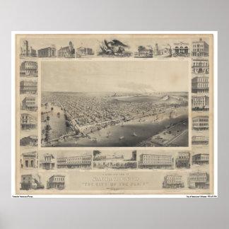 A Birds-Eye View Sacramento, 1857 Poster