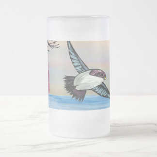 A Birds View Frosted Glass Beer Mug