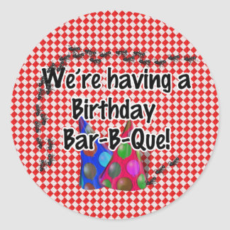 A Birthday Bar-B-Q Party Classic Round Sticker