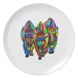 A Bison Trio Plates