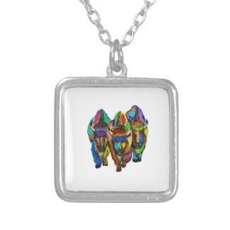 A Bison Trio Silver Plated Necklace