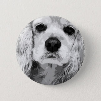 A black and white American cocker spaniel 2 Inch Round Button