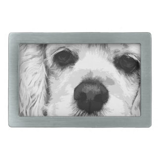 A black and white American cocker spaniel Belt Buckle