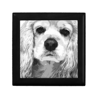 A black and white American cocker spaniel Gift Box