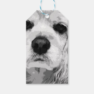 A black and white American cocker spaniel Gift Tags