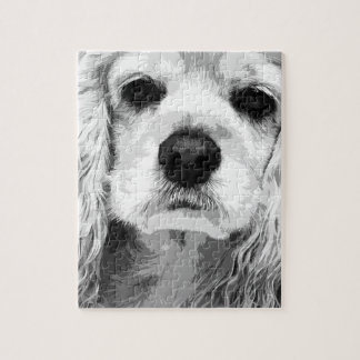A black and white American cocker spaniel Jigsaw Puzzle