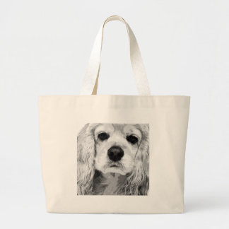 A black and white American cocker spaniel Large Tote Bag
