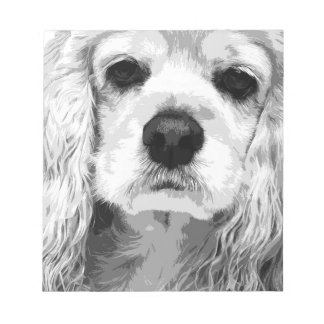 A black and white American cocker spaniel Notepad