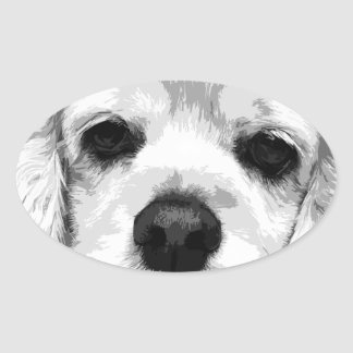 A black and white American cocker spaniel Oval Sticker