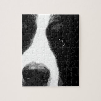 A black and white Bernese mountain dog Jigsaw Puzzle