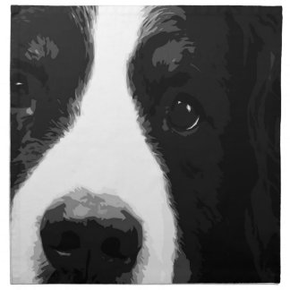A black and white Bernese mountain dog Napkin
