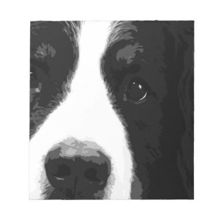 A black and white Bernese mountain dog Notepad