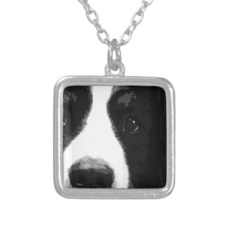 A black and white Bernese mountain dog Silver Plated Necklace