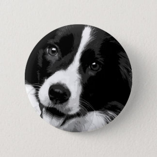 A black and white Border collie 2 Inch Round Button