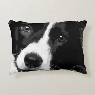 A black and white Border collie Accent Pillow
