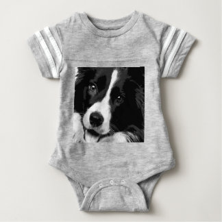 A black and white Border collie Baby Bodysuit