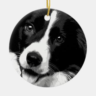A black and white Border collie Ceramic Ornament