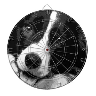A black and white Border collie Dartboard