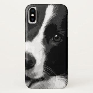 A black and white Border collie iPhone X Case