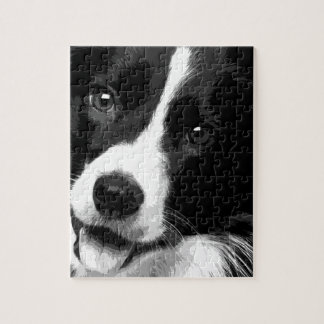 A black and white Border collie Jigsaw Puzzle