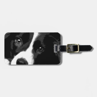 A black and white Border collie Luggage Tag