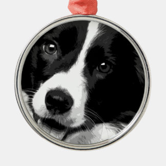 A black and white Border collie Metal Ornament