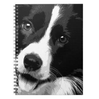 A black and white Border collie Notebook