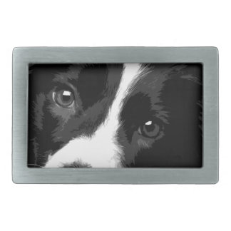 A black and white Border collie Rectangular Belt Buckle