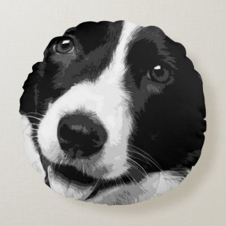 A black and white Border collie Round Pillow